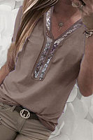 V Neck  Glitter  Plain T-Shirts