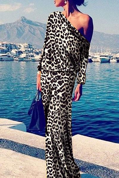 Sexy Leopard Print Long Sleeve Maxi Dress