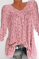Floral Print Loose V-Neck Long Sleeve T-Shirt