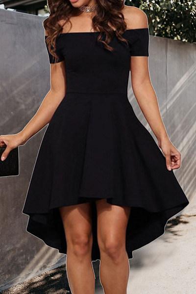 Off Shoulder  Plain  Short Sleeve Skater Dresses