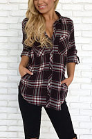 Hooded  Single Breasted  Gingham  Blouses