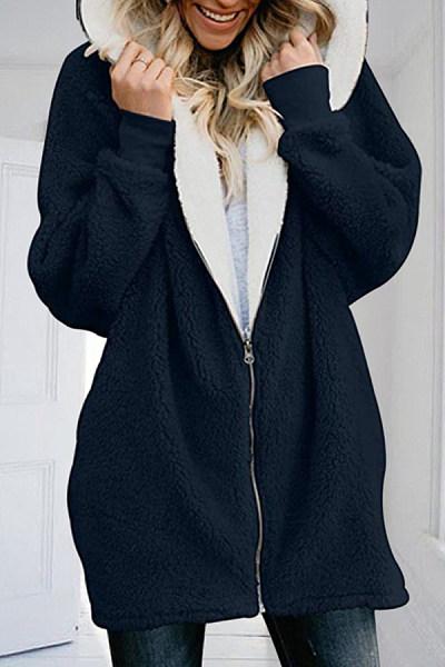 Casual Zipper Cardigan With Hood Jacket