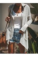 Hooded  Asymmetric Hem  Striped Cardigans
