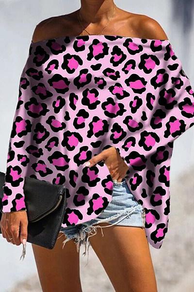 Sexy Women Word Collar Batwing Sleeve Leopard T-Shirts