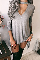 Deep V Neck  Asymmetric Hem  Plain Casual Dresses