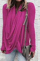 Cowl Neck  Asymmetric Hem  Pleated Bodice T-Shirts
