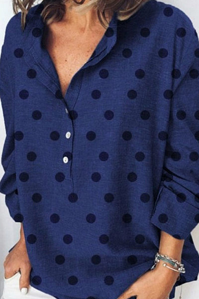 Polka Dot Loose-Fitting Casual Blouses