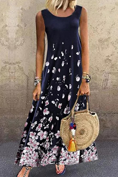 Printed casual sleeveless dress