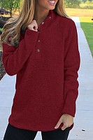 Band Collar  Single Breasted  Plain  Sweatshirts