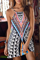 Spaghetti Strap  Printed  Sleeveless Casual Dresses