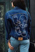 Brief Face Embroidery Casual Denim Jacket