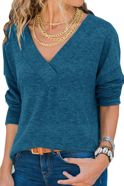 V Neck  Patchwork  Casual  Plain  Long Sleeve T-Shirts