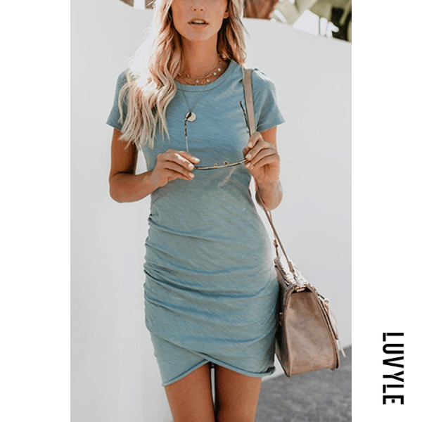 Sky Blue Crew Neck Asymmetric Hem Plain Short Sleeve Bodycon Dresses Sky Blue Crew Neck Asymmetric Hem Plain Short Sleeve Bodycon Dresses