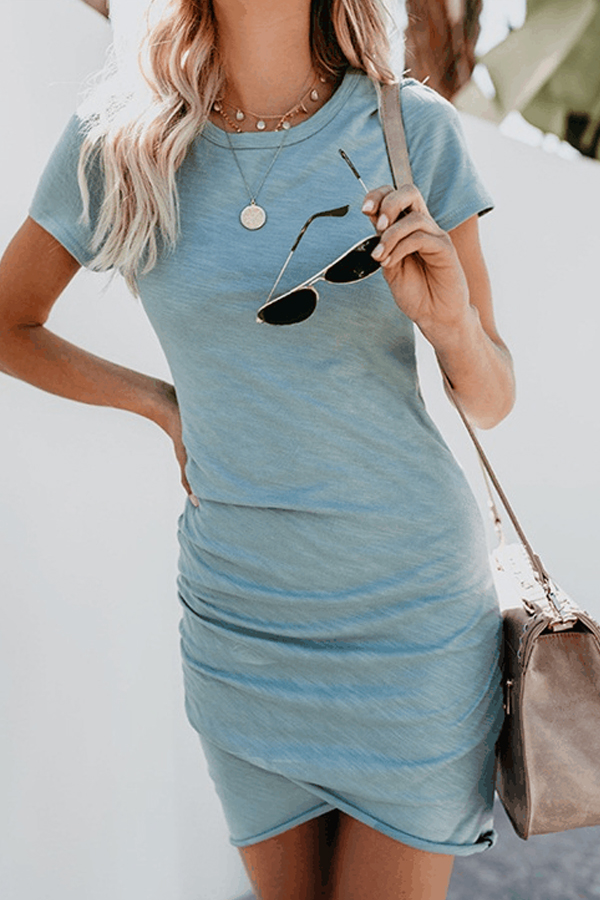 Summer Vibes, Cute Casual Mini Dress with asymmetric hem and short sleeves