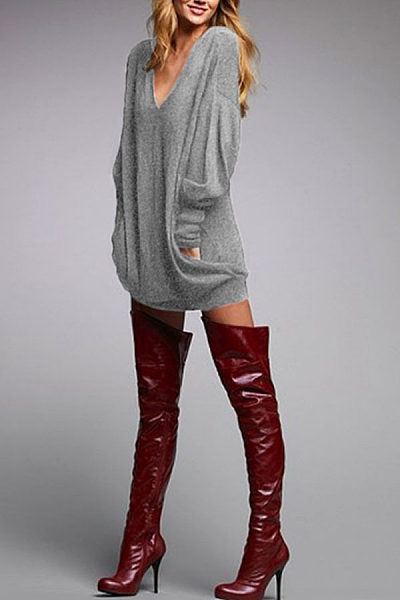 Deep V Neck  Plain  Lantern Sleeve  Long Sleeve Casual Dresses