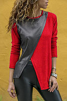 Fashion Contrast Stitching Round Neck Long Sleeve T-Shirts