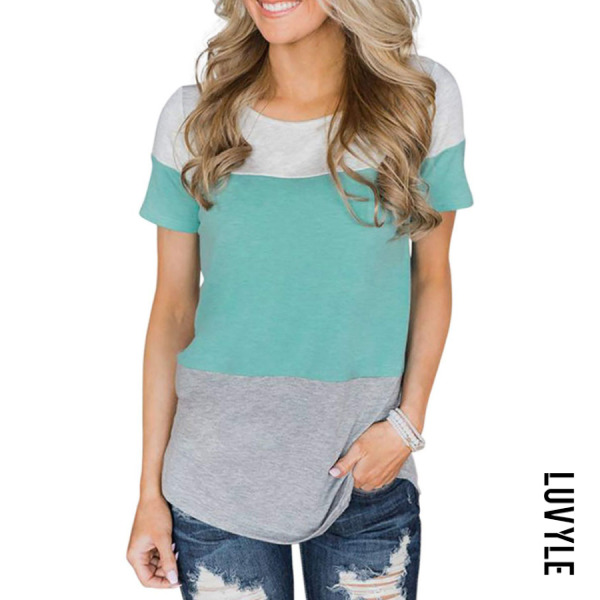 Green Round Neck Patchwork T-Shirts Green Round Neck Patchwork T-Shirts