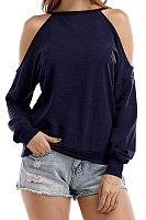 Open Shoulder  Cutout  Plain T-Shirts