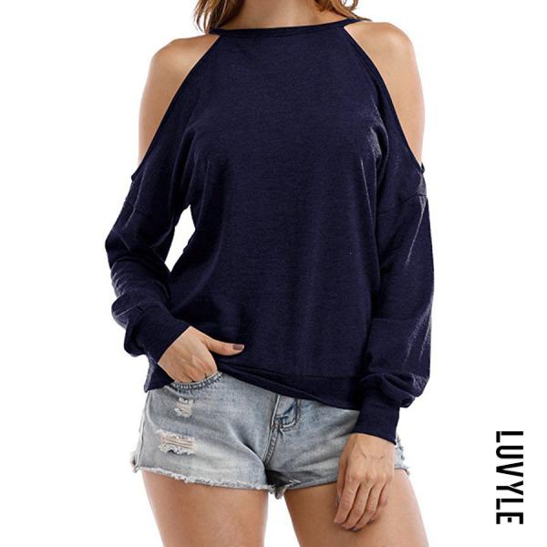 Navy Blue Open Shoulder Cutout Plain T-Shirts Navy Blue Open Shoulder Cutout Plain T-Shirts
