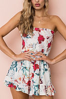 Strapless  Floral Printed  Sleeveless  Playsuits