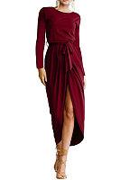 Round Neck  Asymmetric Hem  Belt Loops  Plain Maxi Dresses