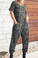 Round Neck  Camouflage  Short Sleeve Jumpsuits