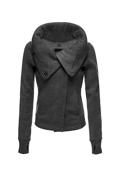 Fold-Over Collar Slit Pocket Plain Coat