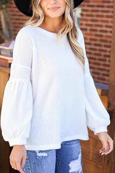 Round Neck Lantern Sleeve Plain T-shirt
