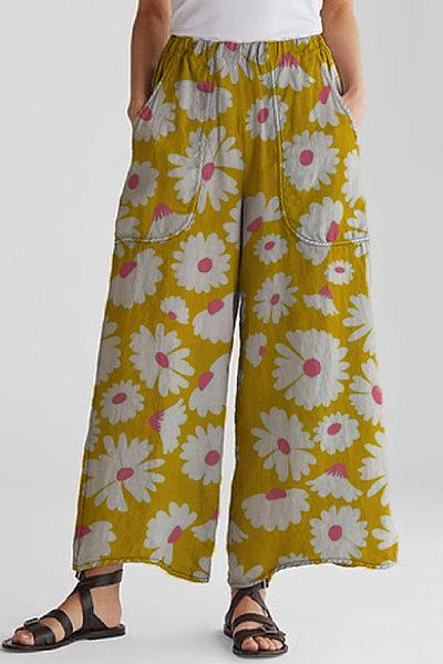 Floral Loose Casual Long Pants