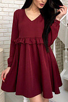 V Neck  Plain  Long Sleeve Skater Dresses