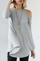 Open Shoulder  Asymmetric Hem Cutout  Plain T-Shirts