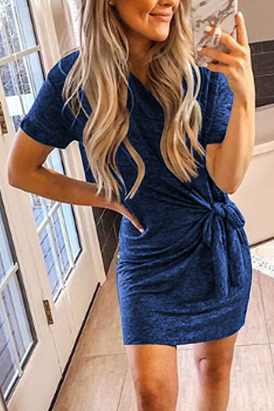 Casual Knotted Short-Sleeved Dress