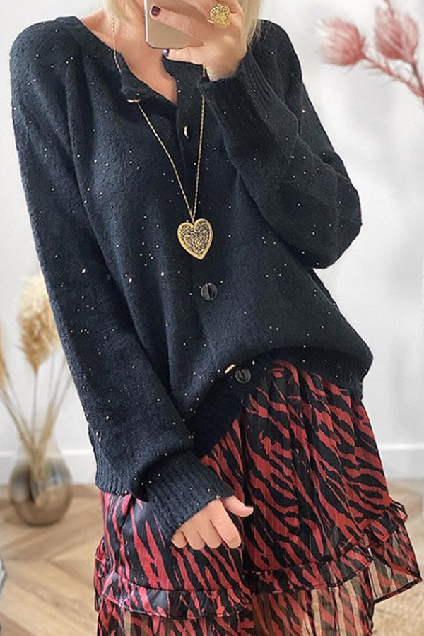 Black Loose Cardigan