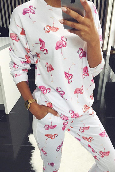 Round Neck  Printed Two-Piece Outfits