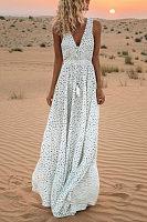 V-Neck Printed Polka Dot Bohemian Maxi Dress