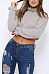 High Neck  Exposed Navel  Plain T-Shirts