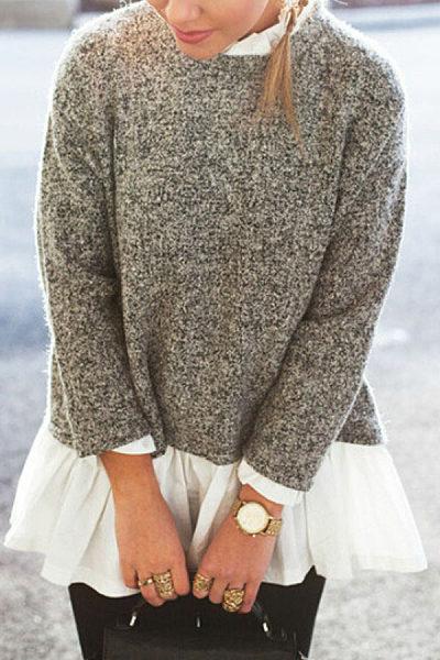 Ruffle Trim  Patchwork Sweaters