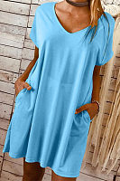 Solid Color V Neck Short Sleeve Mini Dress