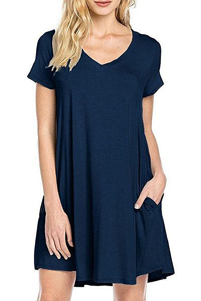 V Neck  Asymmetric Hem Slit Pocket  Plain  Short Sleeve Casual Dresses