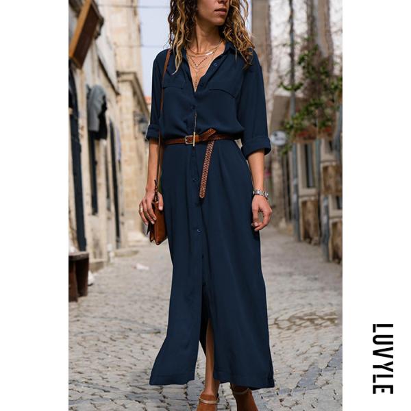 Blue Fashionable Loose Long Sleeved Maxi Dress Blue Fashionable Loose Long Sleeved Maxi Dress