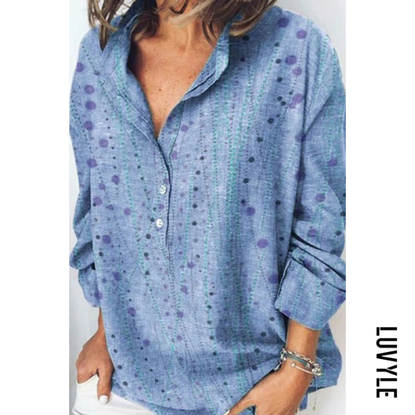Cotton and linen print loose long sleeve shirt