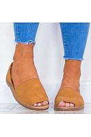 Plain  Flat  Peep Toe  Casual Sandals