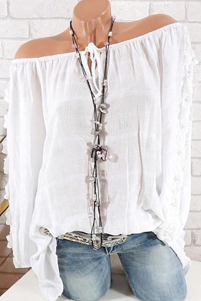 Ladies V Neck Patchwork Lace Blouse