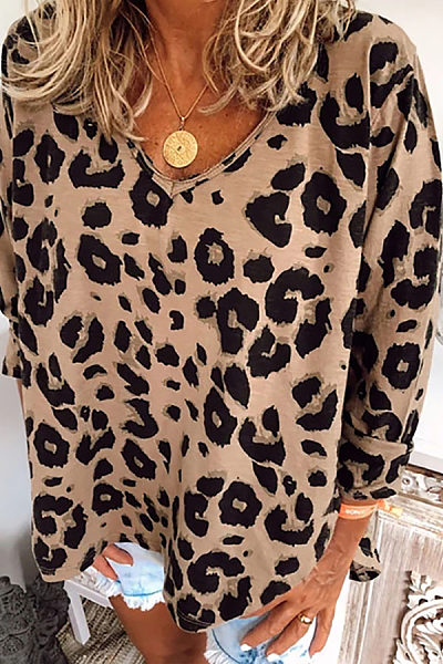 Women's Casual Leopard Print V-Neck Long Sleeve Loose T-Shirt