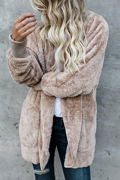 Hooded  Slit Pocket  Plain Outerwear