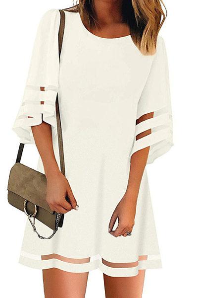 Round Neck  Plain  Three Quarter Sleeve Casual Dresses