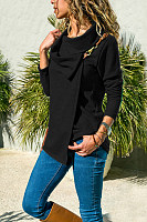 Asymmetric Neck  Plain  Basic Cardigans