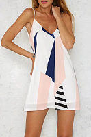 Spaghetti Strap  Backless  Color Block  Sleeveless Casual Dresses