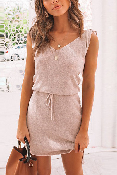 Fashion Lace Slim V-Neck Sleeveless Dress