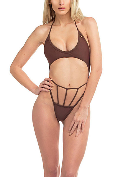Halter  Backless  Plain Bikini